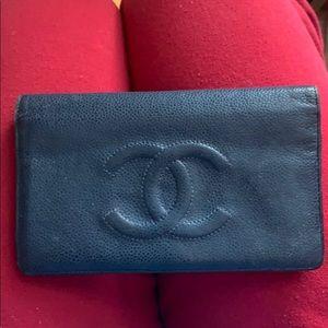 Authentic Chanel Navy Flip Wallet